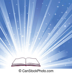 Open book and blue bright background, vector illustration