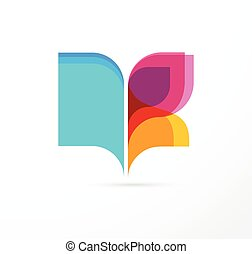 Open book and butterfly - colorful concept icon of education