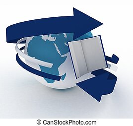 open book and earth on white background