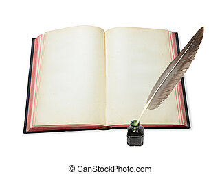 Open book and feather in the inkwell - One vintage open book...