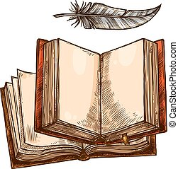 Open book and feather pen sketch with copy space