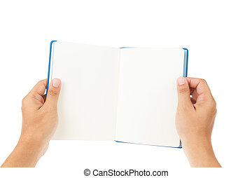 Open Book and hand on white background