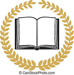 open book and laurel wreath (book emblem, book symbol,...