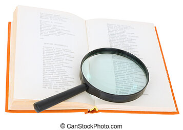 Open book and magnifier on a white background