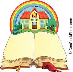Open book and school building