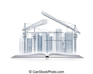 Open book and wire frame skyscrapers - On the pages of an...