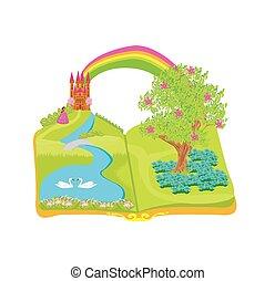Open book - beautiful princess in the garden