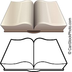 Open book, bible, encyclopedia, classic style, isolated vector illustration in both detailed color and black line drawing versions