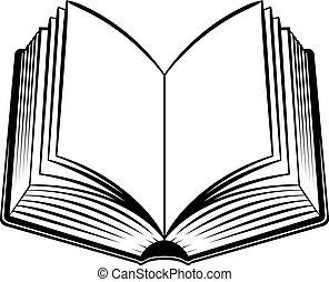 Open Book. Black and white illustration for design