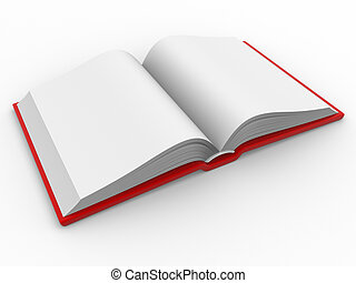 Blank open book. This is a 3d render illustration