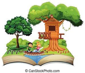 Open book children in nature theme