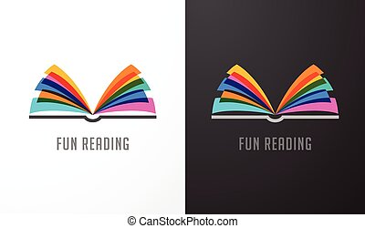 Open book - colorful concept icon of education, creativity,...