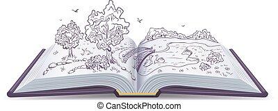 Open book. Conceptual illustration - Meadow, River, bridge...