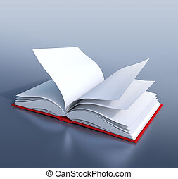 Open book - Red hardcover book with empty pages, open in its...