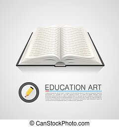 Open book education art on a white background. Vector illustration