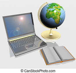 Open book, globe and laptop
