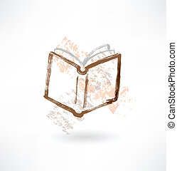 open book grunge icon.
