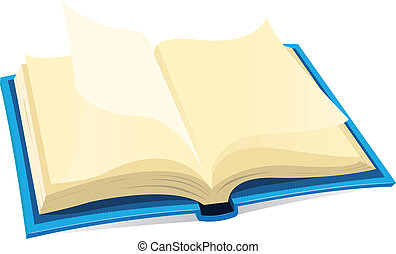 Open Book Icon - Illustration of a blue covered open book...