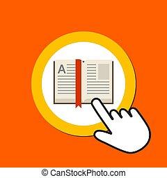 Open book icon. Reading, library concept. Hand Mouse Cursor Clicks the Button.