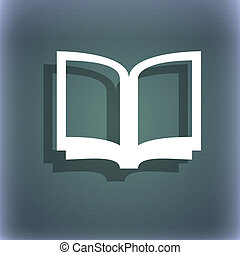 Open book icon symbol on the blue-green abstract background with shadow and space for your text.