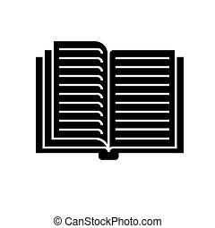 open book icon, vector illustration, black sign on isolated background
