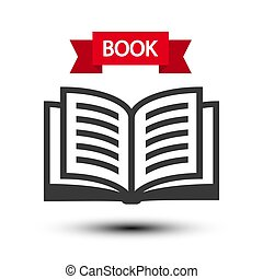 Open Book Icon. Vector Reading Symbol Isolated on White Background.