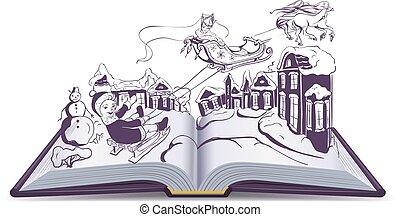 Open book illustration fairy tale snow queen