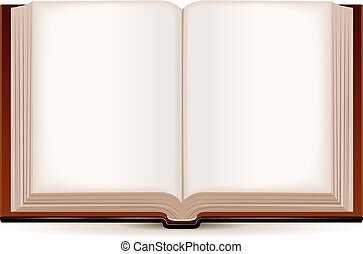 Open book in a brown cover