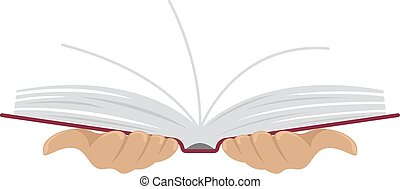 Open book in the hands of man. Flat style. Isolated illustration.