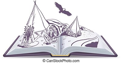 Open book. Indians sit at wigwam on pages of open book. Adventure story. Isolated cartoon illustration in vector format