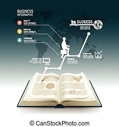 Open book infographic business step paper graph line idea to...