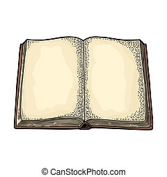 Open book isolated on white background. Vector engraving