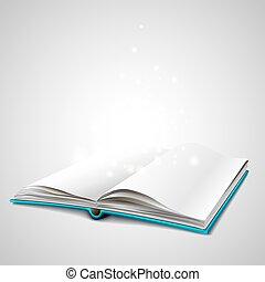 Open book isolated on white background. White paper