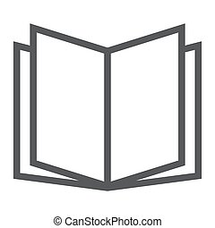 Open book line icon, school and education