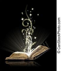 Open book magic on black  - Opened book magic on black