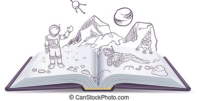 Open book Martian. Science Fiction space. Illustration in ...