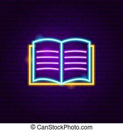 Open Book Neon Label