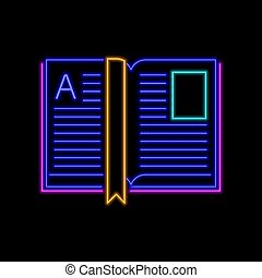 Open book neon sign. Bright glowing symbol on a black background.