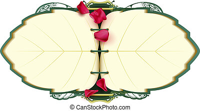 Open book notebook in shape of leaf tree and petal rose