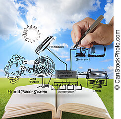 open book of engineer draws hybrid power system, combine ...