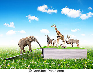 Open book of nature with animals.