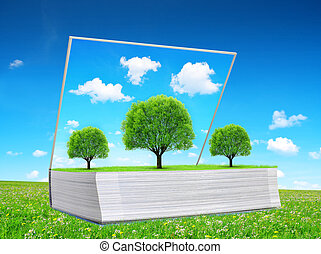 Open book of nature with trees on meadow.