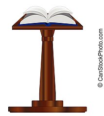 Open Book On Podium - A large, open, hard back book set upon...