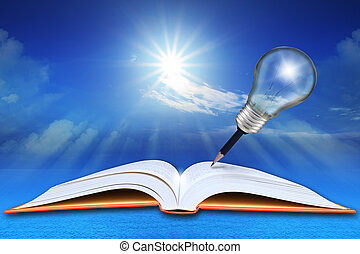 open book on sea and blue sky with pencil light bulb