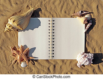 Old Open Book Surrounded By Seashells and Starfish