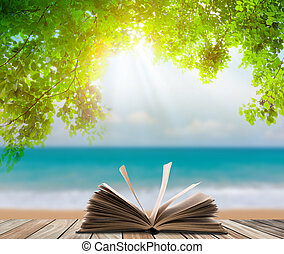 Open book on wood floor with green grass and leaf over beach...