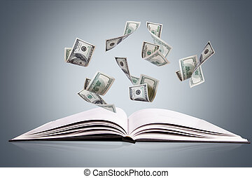 Open Book or Magazine with Flying Dollar Banknotes