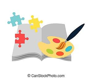 open book paintbrush palette color art