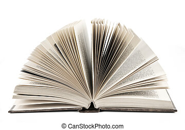 Open book - Open old fanned hardcover leather bound book