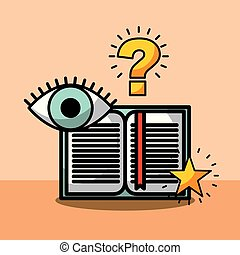 open book question eye learning vector illustration